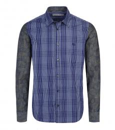 Etro Blue Allover Check Logo Shirt