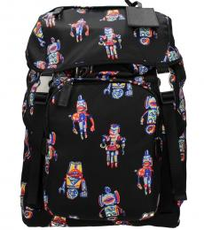 Prada Black Robot Print Large Backpack