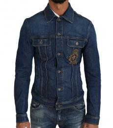 Dolce & Gabbana Blue Crown Bee Logo Jacket