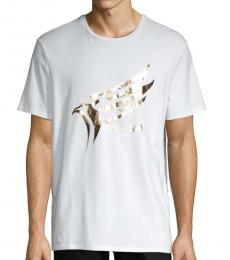 White Foiled Eagle Logo Graphic T-Shirt