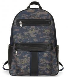Robert Graham Navy Printed Logo Large Backpack