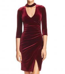 BCBGMaxazria Deep Port Velvet Cut-Out Evening Dress