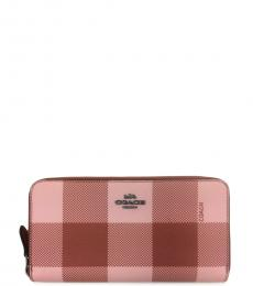 Coach Pink Plaid Print Accordion Zip Wallet