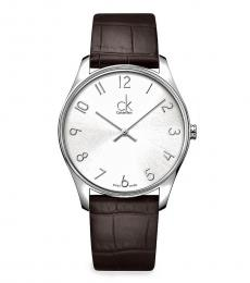 Brown Silver Dial Watch