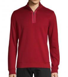 Dark Red Sidney Zip-Neck Pullover