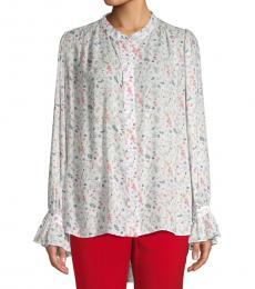 White Floral Button-Down Blouse