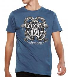 Navy Blue Graphic Logo Print T-Shirt
