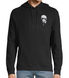 Karl Lagerfeld Black Graphic Cotton-Blend Hoodie