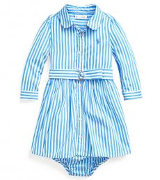 Ralph Lauren Baby Girls Blue Shirtdress