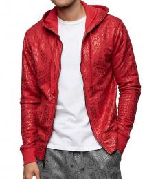 Red Allover Print Red Zip Hoodie