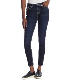 True Religion Dark Blue High Rise Flap Pocket Skinny Jeans