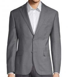 Light Grey Classic-Fit Checked Jacket