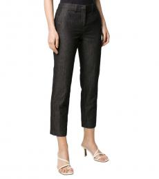 Emporio Armani Navy Blue Crinkled Slim-Fit Trousers