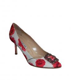 Manolo blahnik Red White Floral Hangisi Heels