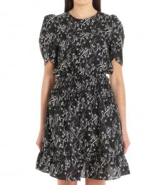 Black Flower Print Silk Blend Dress