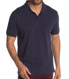 Ben Sherman Navy Blue Print Classic Fit Polo