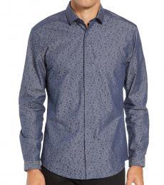 Blue Denim Print Slim Fit Shirt
