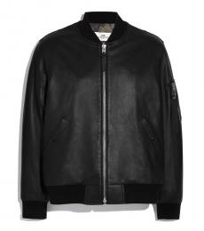 Coach Black Leather Solid Jacket