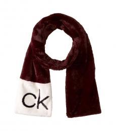 Calvin Klein Dark Cranberry Faux Fur Scarf