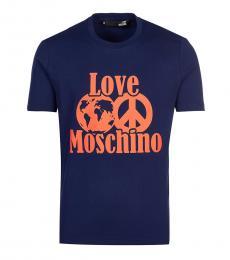 Love Moschino Dark Blue Graphic Logo T-Shirt