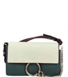 Chloe White Teal Flap Medium Crossbody