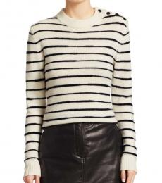 Rag And Bone Ivory Navy Stripe Wool Sweater