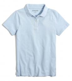 J.Crew Girls Faded Chambray Pique Polo