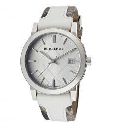 Burberry White-Silver Logo Watch