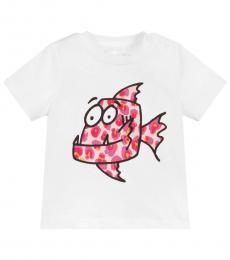 Stella McCartney Baby Girls White Fish Print T-Shirt