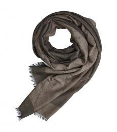 Armani Jeans Olive-Beige Logo Modish Scarf