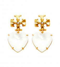 Tory Burch White-Gold Heart Earrings