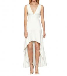 BCBGMaxazria Off-White Plunging High-Low Flounce Gown