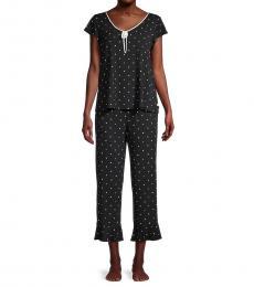 Kate Spade Black 2-Piece Floral Pajama Set