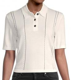 Rag And Bone Ivory Jamie Stretch Merino Wool Cropped Polo