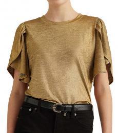 Gold Metallic Jersey Top