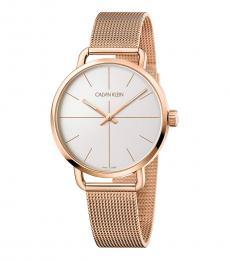 Calvin Klein Rose Gold Even Silver Dial Watch