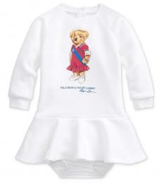 Ralph Lauren Baby Girls White Polo Bear Dress