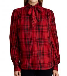 Red Plaid Button-Down Top