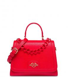 Love Moschino Red Textured Small Satchel