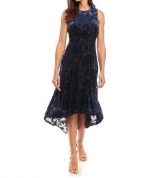 Navy Blue Velvet A-Line Hi-Low Maxi Dress