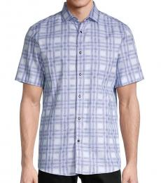 Blue Printed Short-Sleeve Shirt