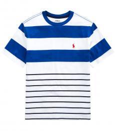 Ralph Lauren Boys White Striped Jersey T-Shirt