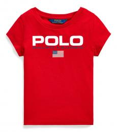 Ralph Lauren Little Girls Red Jersey Graphic T-Shirt