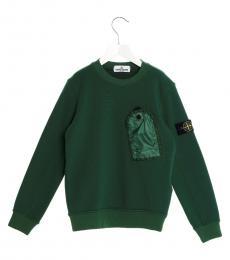 Stone Island Boys Green Pocket Sweatshirt