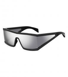 Moschino Black Logo Wraparound Sunglasses