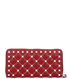 Red Quilted Studs Wallet