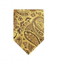 Gold Streamline Paisley Print Tie
