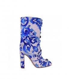 Blue White Printed Majolika Ankle Boots
