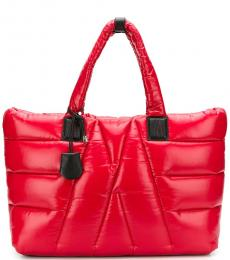 Moncler Red Quilted Large Tote