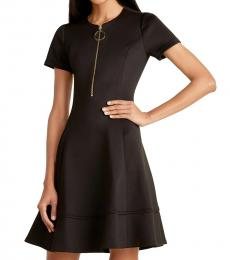 Black Zipper Flared Dress